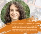 Photo of Bethany Basile, Deputy Director with quote about Boston Workers Circle.